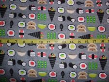 Japanese Sushi Happy Sushi Allover Gray Cotton Flannel Fabric 2.86 Yd L
