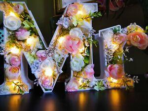 Shabby chic decorative lit up Mr & Mrs standing ornamental