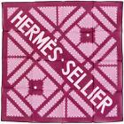 29422 - 23 auth HERMES magenta pink cotton Hermes Sellier 45 Pocket Scarf