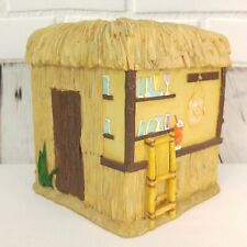 Tiki Hut Bar Tissue Box Cover Resin Yellow Bamboo Thatched Roof Cocktails