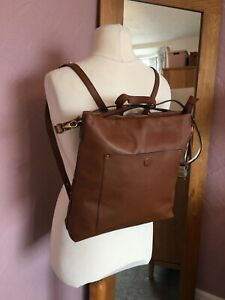 New White Stuff Holly Brown Leather Messenger Ruck Sack Top Handle Bag