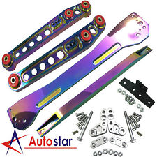 Neo Chrome Rear Lower Control Arm Subframe Brace Tie Bar Kit For 96-00 Civic EK