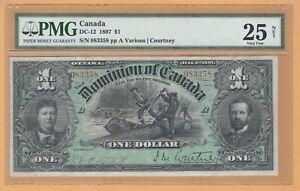 Dominion of Canada $1 1897 DC-12 PMG-25 VF Very Fine RARE Banknote
