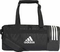adidas Convertible 3 Stripe Holdall Black Zipped Duffell Converts to Backpack