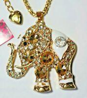 NEW! Betsey Johnson Crystal Rhinestone Enamel Elephant Necklace Pendant