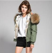 2017  Women REAL FUR Hood BOMBER Coat Army Jacket Parka UK 6-14