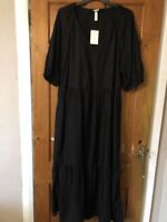 H&M Black Puff Sleeve Midi/Maxi Tiered Dress Size M(12/14)