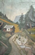 1926 Naive art mountain landscape oil painting signed