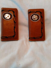 2 Men's Wallets Check book with TEXAS State and STAR Emblem #727 Brown Color