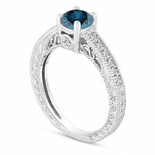 Enhanced Blue Diamond Engagement Ring 14K White Gold Vintage Style Unique 0.70Ct