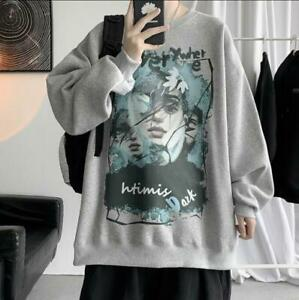 Men's Youth Fashion Printed Round Neck Pullover Oversize Casual Sweats Top 9658