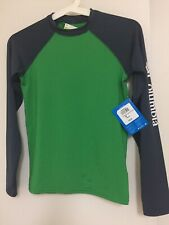 NWT $45 Columbia Boys Long Sleeve Shirt Youth Size M Green Gray 50 UPF rated