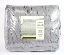 Idea Nuova Ruched Stripes Grey 100% Cotton Cal King Comforter Set A606