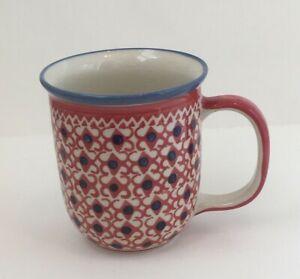 Wiza Boleslawiec Handmade Polish Pottery Mug Red, Blue & Cream Design