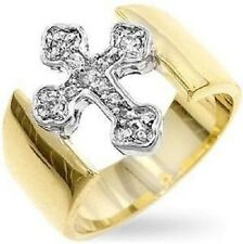 14K GOLD EP .50CT DIAMOND SIMULATED CROSS RING SZ 7 O