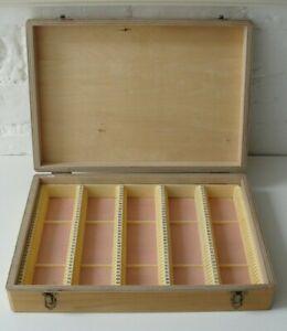 Vintage Wooden 35mm Slides Storage Box Holds 175 Slides •●