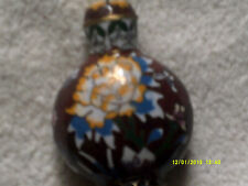 chinese copper and enamel snuff bottle  coverd in flowers