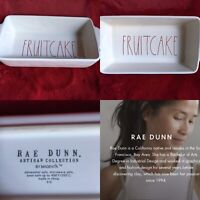 """Rae Dunn Holiday FRUITCAKE  Red Letters Loaf Dish Christmas Ceramic 10.5""""x5"""""""