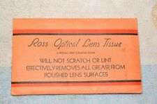 ROSS CAMERA LENS CLEANING TISSUE PACKAGE REMAINS of 100 sheets VINTAGE