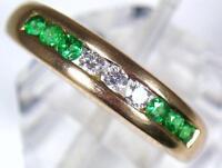 Vintage 14ct Gold 3 Diamond & 6 Emerald Dress or Eternity Ring . U.K size M 1/2