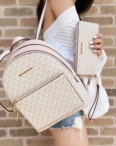 Michael Kors Medium Adina Backpack Vanilla MK Pink Blush + Continental Wristlet