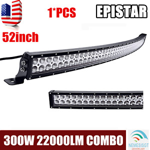 """52""""INCH 300W LED CURVED WORK LIGHT BAR FLOOD SPOT COMBO OFFROAD SUV ATV for JEEP"""