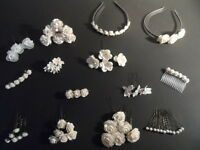 WHITE ROSE WEDDING ACCESSORIES GRIPS COMB BARRETTE CLIP ORCHIDS LILLIESALICEBAND