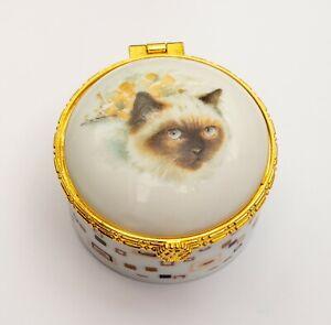Alastor Enamels Birman Cat Round Hinged China Trinket Box