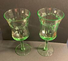 "2 VTG Green Depression Glass Wine Water Glasses Etched Uranium 7"" Floral? Grape?"