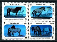 WWF Przewalski's Horses 3-D Hologram mnh block 4 stamps Mongolia #2441