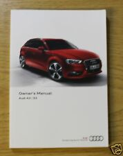 AUDI A3 S3 SALOON SPORTBACK HANDBOOK OWNERS MANUAL 2012-2016 MAIN BOOK