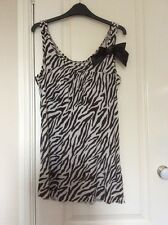 River Island Brown And Cream Zebra Animal Print Top Size 12