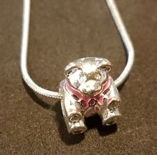 Pink bow teddy bear stirling silver necklace