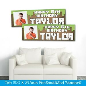 2 PERSONALISED PHOTO BIRTHDAY BANNERS 800 x 297MM