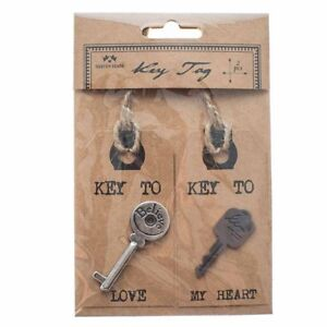 SET OF 2 LOVE KEY TAGS DECORATED WITH KEYS CRAFT GIFTS PRESENT