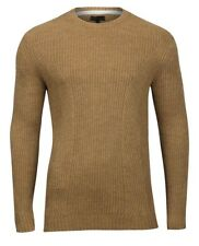 New RIVER ISLAND Mens knitted camel Wool Blend pullover jumper size Small