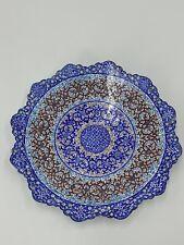 PERSIAN HAND PAINTED ENAMEL METAL PLATE / BOWL WALL HANGING BLUE BROWN WHITE