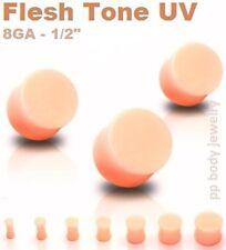 "PAIR Flesh Tone UV Saddle Ear Plugs - 8G 6G 4G 2G 0G 00G 1/2"""