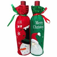 Snowman/Santa Claus Christmas Decoration Red Wine Bottle Cover Bags Sequins