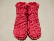 Womens Knitted Pink Cozy Mixed Wool Slippers Handmade Shoes