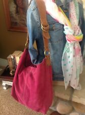 LUCKY BRAND Slouchy Fuchsia Suede Leather Boho Bag W Matching Coin Purse