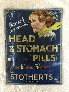 Original vintage tin sign Chemist Dispensary Vintage Original Stotherts Atherton