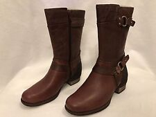 Merrell Chocolate Brown Boots Block Heel Side Zipper Size 6.5 Riding Moto NWT