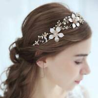 Gold Flower Wedding Bridal Headbands Crystal Leaf Headpieces Hair Accessories