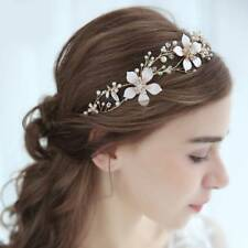 Gold Baroque Bridal Flower Headpiece Crystals Wedding Bride Hair Accessories