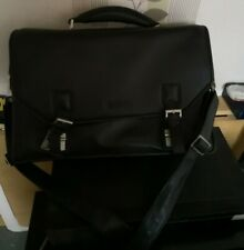 Kenneth Cole Reaction unisex Black Leather Briefcase / computer bag - Used