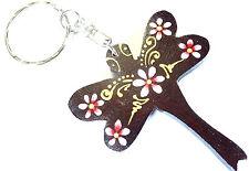 Porte clé clef Libellule Bois Artisanal Fleur wooden key holder Dragonfly cle