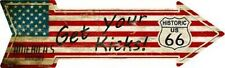 GET YOUR KICKS ON ROUTE 66 AMERICAN FLAG METAL NOVELTY DIRECTIONAL ARROW SIGN