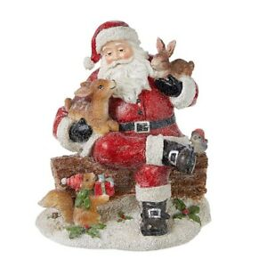 """Raz Imports Through The Woods 7.5"""" Santa and Forest Friends"""