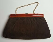 Harry Levine Brown Suede Leather Vintage Clutch Purse Convertible Evening Bag